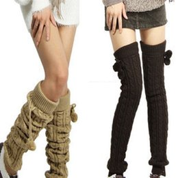 Wholesale- Autumn Winter New women's fashion with ball twist knitted wool knee socks leg warmers Coupon