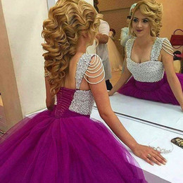 Wholesale 15 Blue Dresses - 2016 Cheap Elegant Lace Quinceanera Dresses Sheer Neck Tulle Prom Ball Gowns Sweep Train Formal Dresses For 15 Years Custom Made