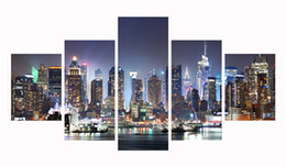 Wholesale Paintings Cityscapes - Unframed Prints Poster 5 Pieces Canvas Art Prints Painting Modern Cityscape Digital Painting Wall Decor Picture