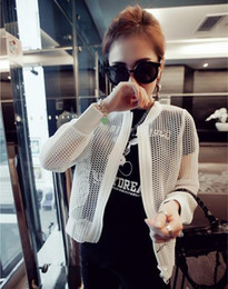 Wholesale White Net Jacket - Wholesale- New 2016 Summer Slim Fit Hole Mesh Net Jacket Women Korean Famous Brand Casual Black And White Hollow Out Coats Manteau