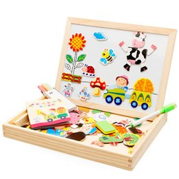 Wholesale Children Magnetic Board - Wholesale-Multifunctional Wooden Toys Educational Magnetic Puzzle Farm Jungle Animal Children Kids Jigsaw Baby Drawing Easel Board
