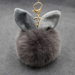 Wholesale Trendy White Faux Furs - 2017 Multicolor Faux Fox Fur Pompom Keychain Fluffy Rabbit Ear Ball Key Chain Keyring Bag Charms Pendant Bunny Accessories