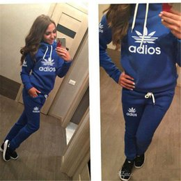 Wholesale Ankle Length Suits - 2017new hot sale Spring New Hoodies Suit Women's Fashion Tracksuits Sweatshirts Set Casual cotton pullover Sportswear outdoor plus size