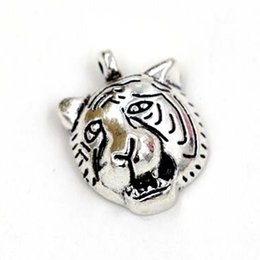 Wholesale Tiger Head Charms - Hot Sale ! 100pcs Antique silver Single surface Tiger Head Charm Pendant DIY Jewelry 17x13mm