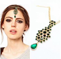 Wholesale White Peacock Headbands - Chic Green Rhinestone Forehead Band Indian Queen Womens Forehead Pendant Peacock Green Forehead Headband Piece