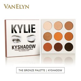 Wholesale Multi Coloured - 2017 Kylie Jenner Kyshadow Eyeshadow 10g 9 Colours Palette The Bronze Palette Kyshadow Cosmetics Pressed Powder Eye Shadow Free Shipping