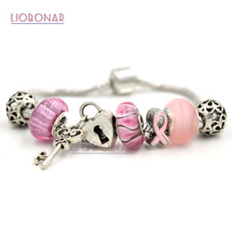Wholesale Cancer Ribbon Beads - New Arrival Newest Breast Cancer Awareness Jewelry European Bead Charm Lampwork Murano Grass Bead Pink Ribbon Breast Cancer Bracelet Jewelry