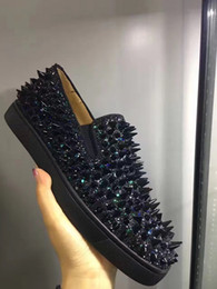 Wholesale Glitter Fabric Wedding Dresses - Luxurious Business Party Wedding Dress Red Bottom Shoes Men Slip On Loafers Shoes Black Glitter Leather Oxford Outdoor Leisure Footwear