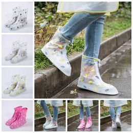 Wholesale Waterproof Shoes Wholesale - Waterproof PVC Reusable Rain Shoe Covers Anti-Slip Printed RainShoe Zipper Rain Boot Overshoes Waterproof Wear Resistant Shoes Cover OOA2710