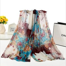 Wholesale Acrylic Circle Scarves - New Design Florial Voile Cotton Scarf light color Retro Oil Painting Print Circle Scarf Large Size Long Scaves Women infinity Scarfs