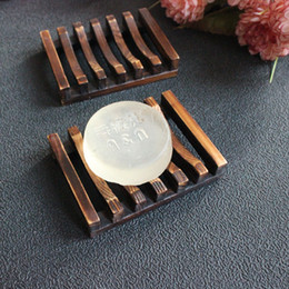 Wholesale Wooden Holders - 10pcs Vintage Wooden Soap Dish Plate Tray Holder Wood Soap Dish Holders Bathroon Shower Hand Washing