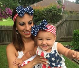 vente en gros 4ème july headbands Promotion vente en gros nouveau drapeau américain bandeau 4 juillet jour de l'indépendance noué bandeau avec Gair Bow drapeau américain bowknot cheveux accessoires