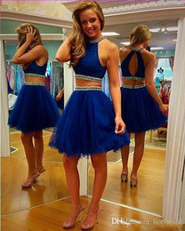 Wholesale Sequin Open Back Homecoming Dresses - Sparkly Crystal Beaded Royal Blue Two Pieces Homecoming Dresses 2016 Mini Short Halter Neck Sexy Open Back Cocktail Party Dresses Tulle