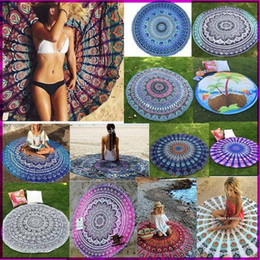 Wholesale Peacock Bikini - 12 Types New Large Shawl Hot Round Beach Towel Fire Peacock Mandala 150cm Beach Swim Towels Bohemia Style Bikini Covers