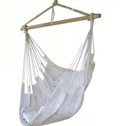 Wholesale Wholesale Hanging Chair - Canvas new Outdoor garden Hanging Cotton chairs Military and easy to carry White kid and adult gift Swing Hammock Lifts