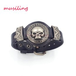 Wholesale Leather Bracelet Wholesale - Leather Bracelets Charms Skull Watch Band Design Adjustable Bangle Punk Rock Hiphop Decorations Reiki Amulet Jewelry