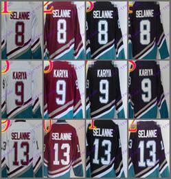 Wholesale Green Nylon Cord - Cord Anaheim Ducks #8 Teemu Selanne 9 Paul Kariya 13 Teemu Selanne White Purple Black Red CCM Hockey Jersey Stitched Mix Order