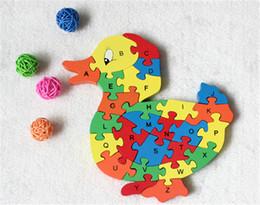 montessori giocattoli anno vecchio Sconti Nuovo giocattolo in legno Animal Cartoon Duck 26 pezzi Lettere inglesi e puzzle cognitivo digitale in legno
