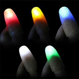 Wholesale Magic Finger Lights - Wholesale- 2PCS Funny Novelty Light-Up Thumbs LED Light Flashing Fingers Magic Trick Props Kids Amazing Glow Toys Children Luminous Gifts