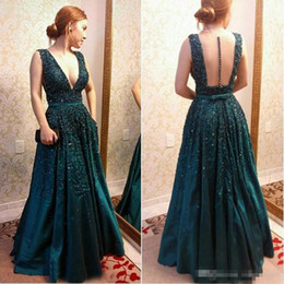 Wholesale Evening Dresess Black - Elie Saab 2017 Hunter Green Formal Celebrity Prom Dresess Illusion Back Deep V Neck Floor Long With Belt Sash Evening Special Occasion Gown