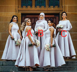 Wholesale Muslims Hijab Caps - 2018 Arabic Muslim Long Sleeves Bridesmaid Dresses With Hijab Satin Bow A-line Cocktail Party Gowns Big Bowknot Back