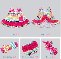 Wholesale Girls Dress Shoes Kids - 9 colors New arrivals baby girls suspenders dress 4 pieces set 100% cotton kids dress+headband+ pp Pants+ shoes little princess dress