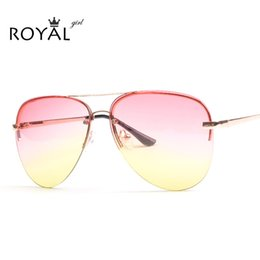 Wholesale Sunnies Glasses - Wholesale-ROYAL GIRL Quality Women Rimless Sunglasses Classic Brand Designer Ombre Sun glasses Chic Sunnies ss097