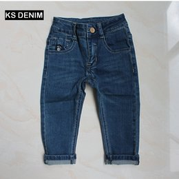 Wholesale 6t Boys Denim Jeans - New shop ON SALE Kids boys jeans 2017 Autumn long boutique kids boys cowboys trouser vintage washed boys bottoms denim pants 2-6T