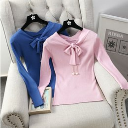 Wholesale woman bowknot sweater - Wholesale- New Arrival V-neck Bowknot Knitted Sweater Women 's Long Sleeve Slim Cute Pullovers Sweaters Knitwear Top Female