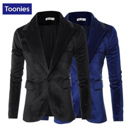 Wholesale Designers Blazers Suit - Wholesale- Brand Designers Business Costume 3XL High Quality Men's Blazer Gold Velvet Korea Style Slim Fit Suit Jacket One Botton Fashion