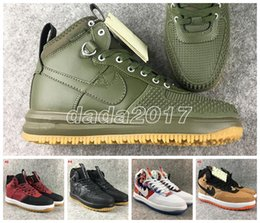 Wholesale Light Up Skateboards - Real leather Lunar air 1 Duckboot Men's Sneaker High cut Skateboard shoes Walking Outdoor Sports Shoe Jogging A1 Mens Trainers Shoe1s 40-45