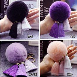Wholesale Trendy Bags For Men - 10PCS LOT Gold 8CM Rabbit Fur Ball High-end ice silk tassel women key car key chain pendant for bag plush pendant with tassels