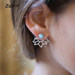 Wholesale Artificial Sapphire - Simple Fashion Hollow Lotus Flower Earrings Gold Silver Plated Women Stud Earrings With Artificial Sapphire Girl Jewelry