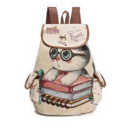 Wholesale Cat Bag Kids - DHL 20pc lot Hot Sale Cute Cats Canvas Shoulder Bag Jacquard Embroidered Kids Teenager Girls Backpack School Bags