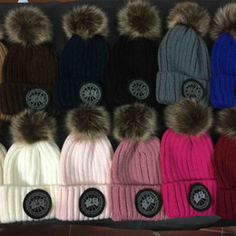 Wholesale Girls Character Tops - Wholesale top quality embroidery Boy girl knitted Skullies casual cap with real fur for women men winter beanies brand Beanie Skull hat