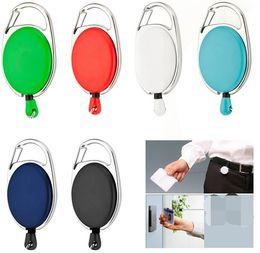 Wholesale Lanyard Pulls - 200 pcs Retractable Pull Key Ring Chain Reel ID Lanyard Name Tag Card Badge Holder Reel Recoil Belt Key Ring Clip
