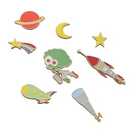 Télescope étoile en Ligne-Vente en gros - Livraison gratuite Cute Cartoon Moon Stars Planet Alien Telescope Universe Broche Pin Button Pins Girl Jeans Clothes Decoration Gift