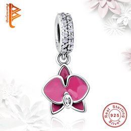 Wholesale orchid jewelry wholesale - BELAWANG 2 Colors Enamel Orchid Dangle Charm 925 Sterling Silver Charms Loose Beads Fit Pandora Charm Bracelet&Bangle DIY Jewelry Making