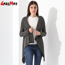Wholesale Capes Ponchos For Women - Cardigan Female Knitted Ponchos Turn Down Collor Loose Tops Casaquinho Feminino Sweater Ladies Cardigan For Women Capes GAREMAY