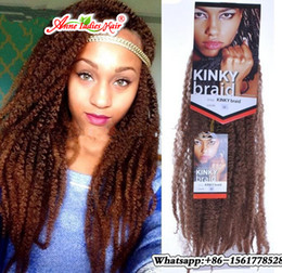 Wholesale Freetress Synthetic Hair - Freetress Afro Kinky Marley Braid Extensions 18inch 100g pcs Ombre Synthetic Braiding Hair Low Temperature Fiber
