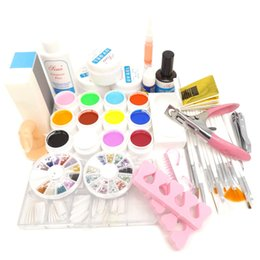 Wholesale Cleanser Plus - Wholesale- Pro 12 Color UV Gel Nail Brushes Topcoat Cleanser Plus Nail Glue Rhinestones Base gel oil Nail Art Tool Kits Manicure Set