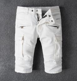 Wholesale Knee Pants For Men - Mens Denim Shorts Slim Regular Casual Knee Length Short Robin Jeans Shorts For Men New Summer White Slim Designer Men Short Pants 30-42