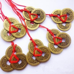 Wholesale Chinese Coin Money - Wholesale- 3 Pieces Bunch Chinese Feng Shui Coins For Wealth And Success Lucky Oriental Emperor Qing Money