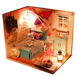 Wholesale Wholesale Miniature Wood House - Wholesale- DIY 3D Wooden Handcraft Miniature Doll House Kit Bedroom with LED Lights & Dust Cover - Brandon's Room
