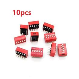 Wholesale red toggle switch - Wholesale-10PCS Lot DIP Switch 5 Way 2.54mm Toggle Switch Red Snap Switch