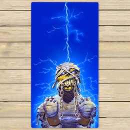 Wholesale Iron Maiden Free Shipping - Iron Maiden Undead Lightning Custom Theme Absorbent Bath Towel 140x70cm Style Beach Towel Free Shipping