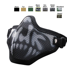 Wholesale Metal Mesh Airsoft - Outdoor Airsoft Shooting Face Protection Gear Single Belt V1 Metal Steel Wire Mesh Half Face Tactical Airsoft Mask