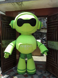 Wholesale Robot Halloween Costumes - Green Robot Mascot Costume Fancy Party Dress Halloween Carnival Costumes Adult Size High Quality free shipping