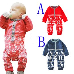 Wholesale Newborn Baby Clothes For Winter - christmas baby rompers costume 2017 winter warm cartoon deer long sleeve newborn romper for boy girl jumpsuit cute baby clothes