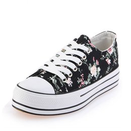 Wholesale National Wind Shoes - 2017 Autumn Canvas Shoes Women's Shoes Korean Version of The Small Floral Low To Help National Wind Students Shoes